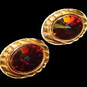 Fabulous Vintage WATERMELON RIVOLI Oval Rhinestone Clip Earrings