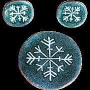 Copper & Enamel SNOWFLAKE Vintage Brooch Set