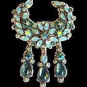 Fabulous FLORENZA Rhinestone & Green Opal Glass Vintage Brooch