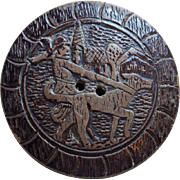 Large Carved Boy & Dog Wood Button