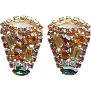 Fabulous ROBERT Signed Rhinestone Vintage Earrings