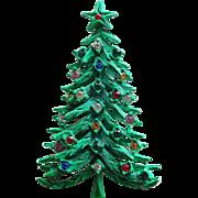 Vintage Christmas Tree Green Enamel Rhinestone Brooch