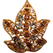 Gorgeous FALL COLORS Leaf Design Vintage Rhinestone Brooch