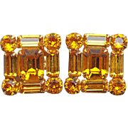 Gorgeous AMBER RHINESTONE Vintage Earrings