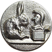 French Antique Rabbit & Jack in the Box Picture Story Button