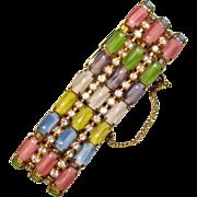 Fabulous SATIN GLASS Multi Color Rhinestone Vintage Bracelet