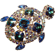 Fabulous RIVOLI RHINESTONE Vintage Blue Turtle Brooch