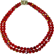 Fabulous RED Aurora Crystal 2 Strand Necklace With Rhinestone Clasp
