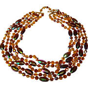 Fabulous 5 Strand AUTUMN Color Amber Brown Aurora Crystal Knotted Beads Necklace