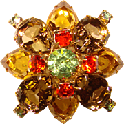 Gorgeous TOPAZ GLASS Green Orange Rhinestone Vintage Brooch