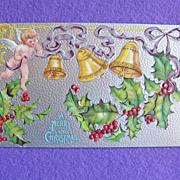 Antique CHRISTMAS Cherub Angel Holly & Yellow Bells Victorian Estate Postcard