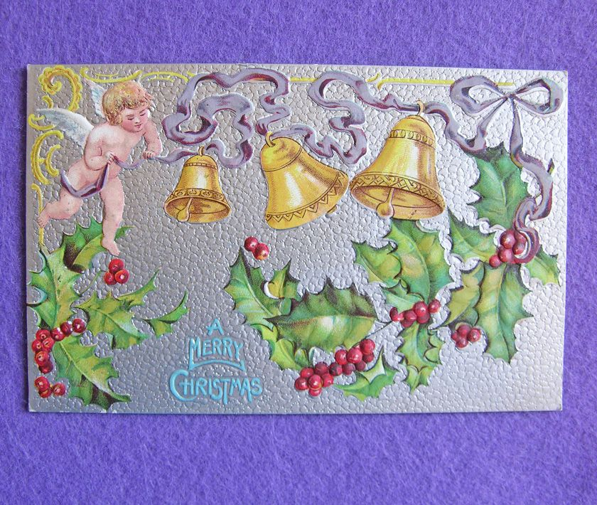 Antique CHRISTMAS Cherub Angel Holly & Yellow Bells Victorian Estate Postcard