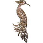 Huge Fabulous ART DECO Bird Rhinestone Vintage Pin Brooch