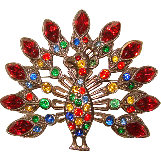 Fabulous 1940s Peacock Design Colored Glass Stones Vintage Brooch