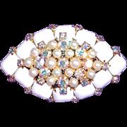 Fabulous MILKGLASS & AURORA Rhinestone Huge Vintage Brooch