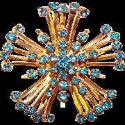 Gorgeous CORO Signed Vintage Aqua Rhinestone Starburst Brooch