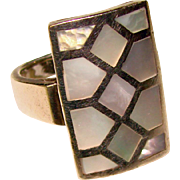 Fabulous STERLING Mother of Pearl Inlay Huge Statement Ring