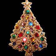 Fabulous CHRISTMAS TREE Vintage Rhinestone Brooch