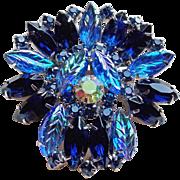 Blue Rhinestone Fruit Salad Leaf Vintage Brooch