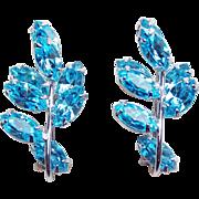 Gorgeous AQUA RHINESTONE Vintage Earrings