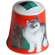 Vintage Christmas Cat Porcelain Thimble