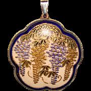 Antique Satsuma WISTERIA Flower Pendant