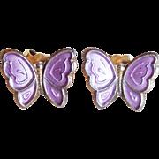 Tiny Sterling Enamel Butterfly Opro Norway Vintage Earrings - Pierced