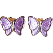 Tiny Sterling Enamel Butterfly Opro Norway Vintage Earrings - Pierced