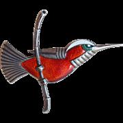 Denmark Sterling Enamel Hummingbird Vintage Brooch