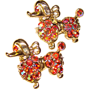 Super Cute POODLE Red Aurora Rhinestone Pin Brooch Set