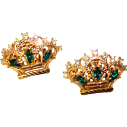 Fabulous CROWNS Emerald Green Rhinestone Fur Clip Brooch Set