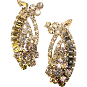 Fabulous D&E JULIANA Clear Rhinestone Huge Ear Climber Vintage Earrings