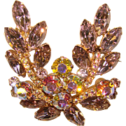 Fabulous D&E JULIANA Lavender Aurora Rhinestone Vintage Pin Brooch