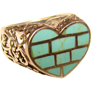 Gorgeous STERLING Turquoise Heart Shaped Ring
