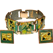 Fabulous Mid Century ENAMELED Bracelet & Earrings Signed Set