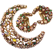 Fabulous CRESCENT MOON Shaped Rhinestone Brooch Set