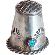 Gorgeous Sterling & Turquoise Vintage Thimble
