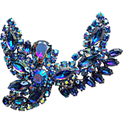 Fabulous BLUE WATERMELON Rhinestone Vintage Brooch