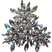 Fabulous HUGE Smoke Rhinestone RUNWAY Brooch - 3 1/4""