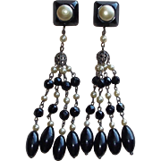 Fabulous ART DECO Black Glass Dangle Earrings