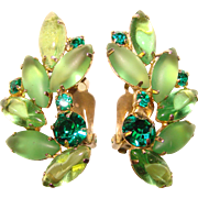 Fabulous Green Rhinestone Vintage Clip Earrings