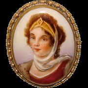 Gorgeous Victorian Lady Antique Porcelain Brooch