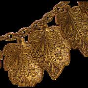 Fabulous 1940's Brass Filigree Leaf Dangles Necklace