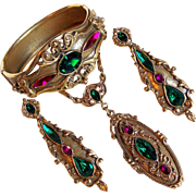 Fabulous Green & Pink Stones Signed 1928 Co. Parure Set