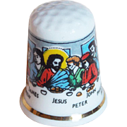Vintage Last Supper Porcelain Thimble