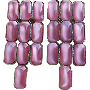 Fabulous ART DECO Pink Satin Glass Dress Clips