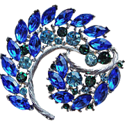 Gorgeous Blue & Green Rhinestone Vintage Brooch