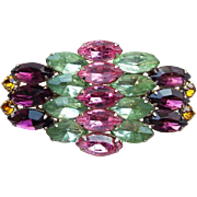 Gorgeous Pink Green Purple Amber Rhinestone Brooch