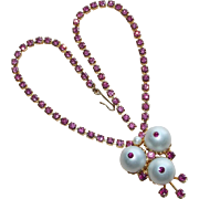 Gorgeous Pink Rhinestone & Faux Pearl Vintage Necklace