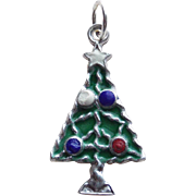 Christmas Tree Sterling Enamel Vintage Charm